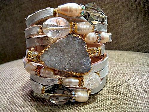 Ivory Italian Leather Wrapped With Gemstones Bracelet