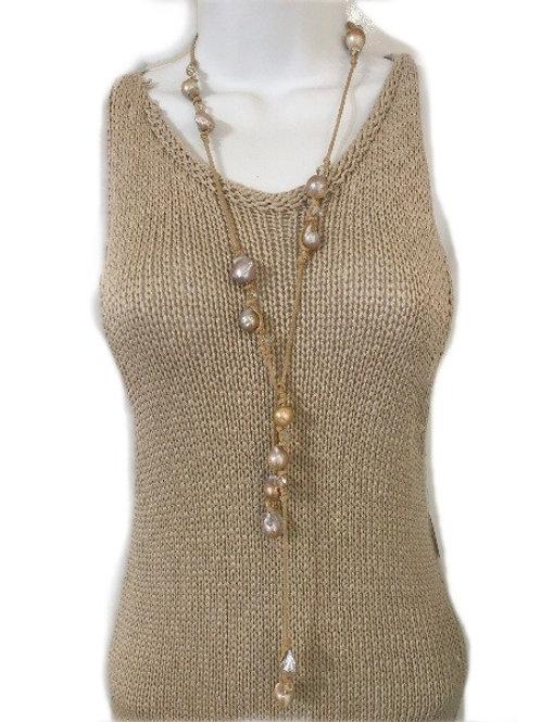 Italian Linen Suede Pearl & Crystal Lariat