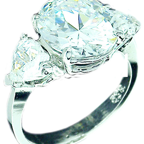 4ct CZ ring with Trillions