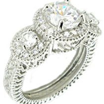 Triple CZ Ring with Halo