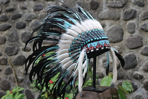 Short Indian Headdress Replica made with real turquoise & black rooster feather