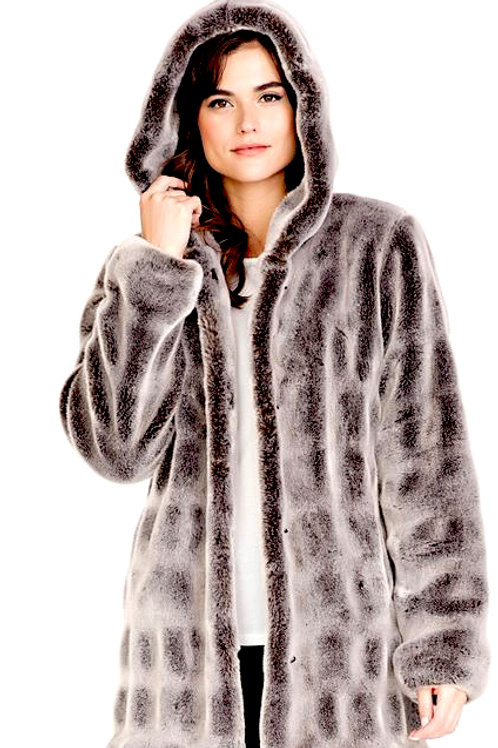 Glacier Grey Mink Couture Hooded Faux Fur Jacket