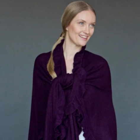 Ruffle Shawl Purple