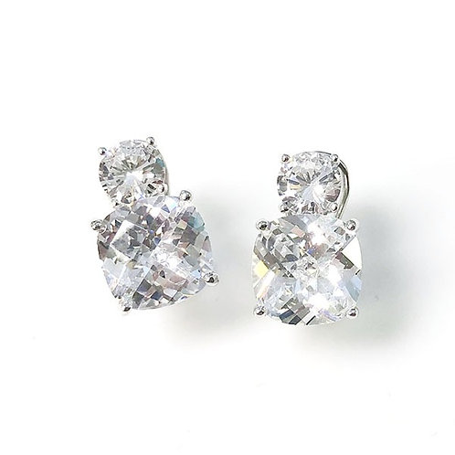 Clear CZ Double Stud