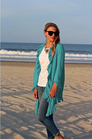 Ruffle Shawl Turquoise