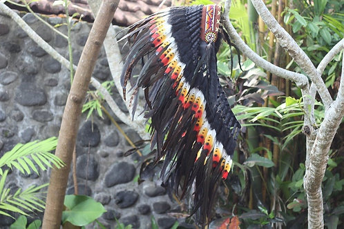 Medium Indian Headdress Replica made with real Swan and Rooster feathers