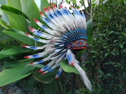 Short USA Flag Feathers Headdress Red Blue and White Independence Colors of Unit
