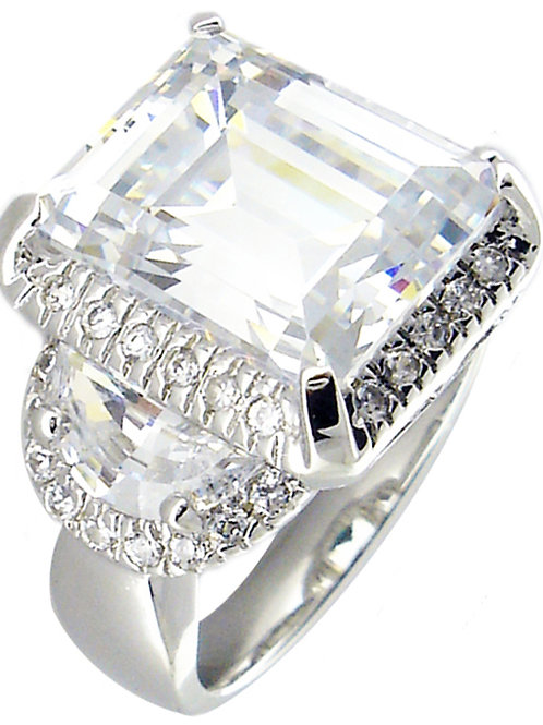Emerald Cut CZ Ring With Halo