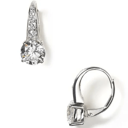 CZ Round Leverback Earring