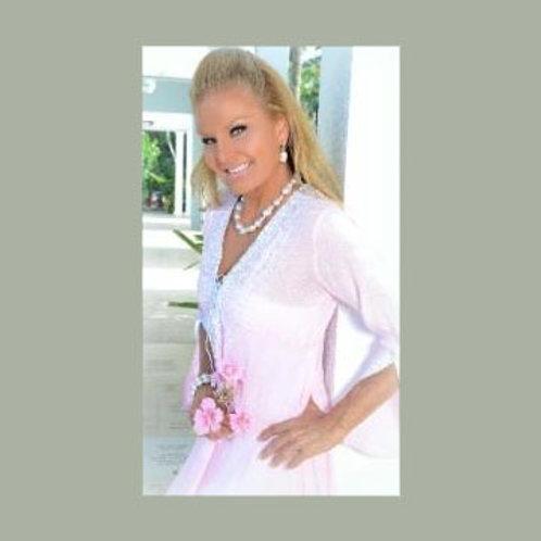 St. Barth's Dress, Light Pink with White Trim