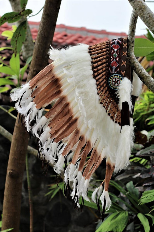 Short Brown Indian Headdress Replica made with Brown swan feathers and beaded wo