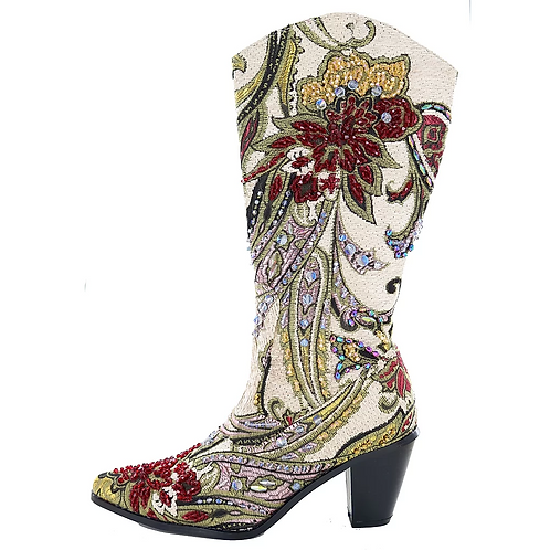 Bling Cowboy Boots In Ivory
