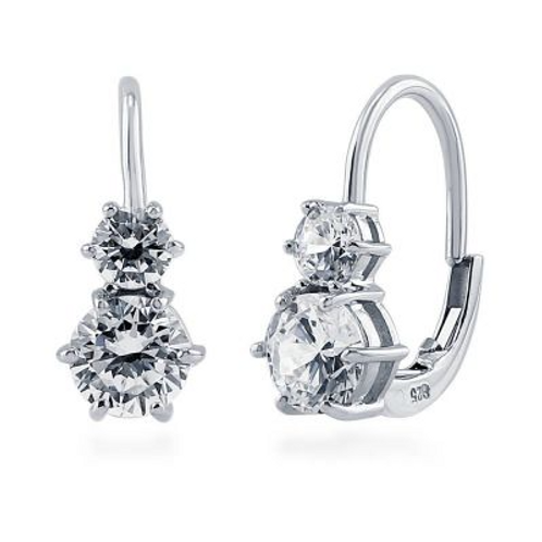 Double CZ Leverback Earring