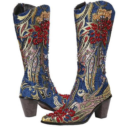 Bling Cowboy Boots Blue Embroidery