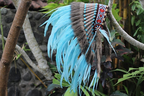 Short Full Turquoise / light blue Indian Headdress Replica made with dyed rooste