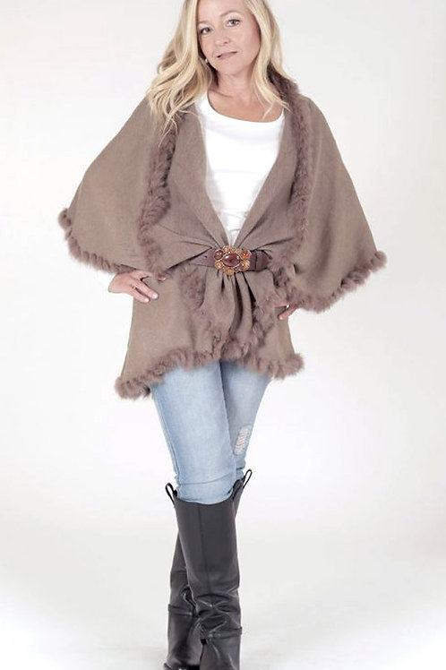 4 WAY SHAWL VEST WITH FUR TRIM IN TAUPE
