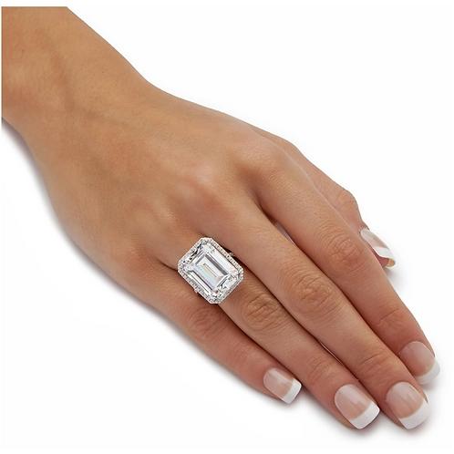 20ct Emerald CZ Halo ring