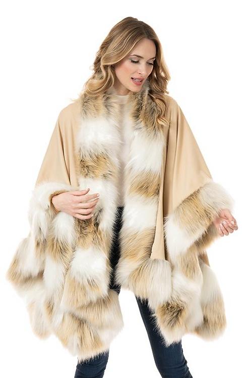 Lynx Faux Fur Trimmed Wrap