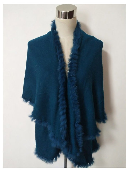 4 WAY SHAWL VEST WITH FUR TRIM INTEAL