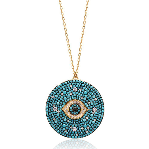 Turquoise Evil Eye Medallion Necklace