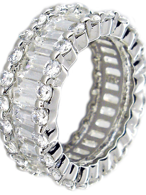 CZ Baguette Eternity Band with Halo