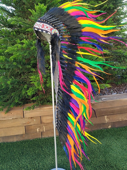 Long Rainbow Indian Headdress Replica made with rooster dyed feathers and front