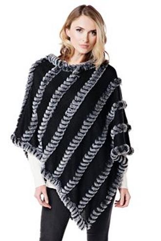 Black Knitted Faux Fur Poncho