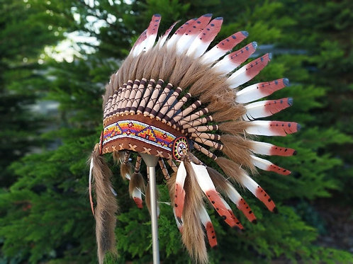 Short Brown Indian Headdress Replica made with Brown painted swan feathers and b
