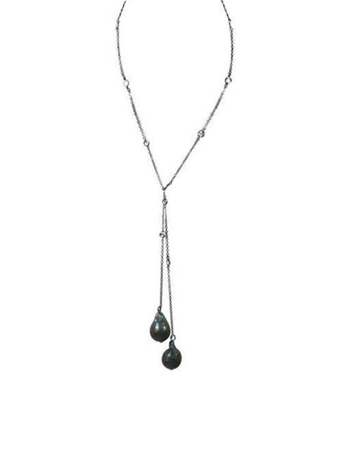 Pearl and CZ Lariat
