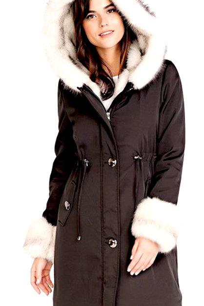 Black Hooded Faux Fur-Lined Knee-Length Coat