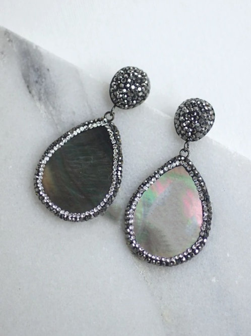 Abalone Earring with Crystalized Setting