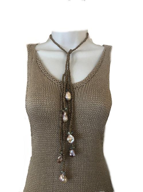 Allegra Dark Linen Mauve Pearls with Crystal