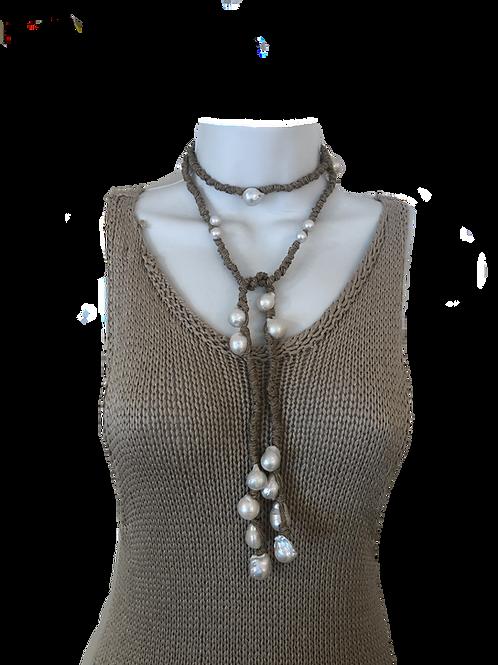 Sophia Dark Linen White Pearls