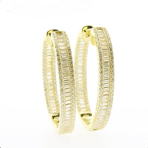 Baguette CZ Hoop Earrings