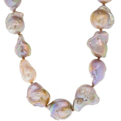 Mauve Freshwater Baroque Pearl Necklace