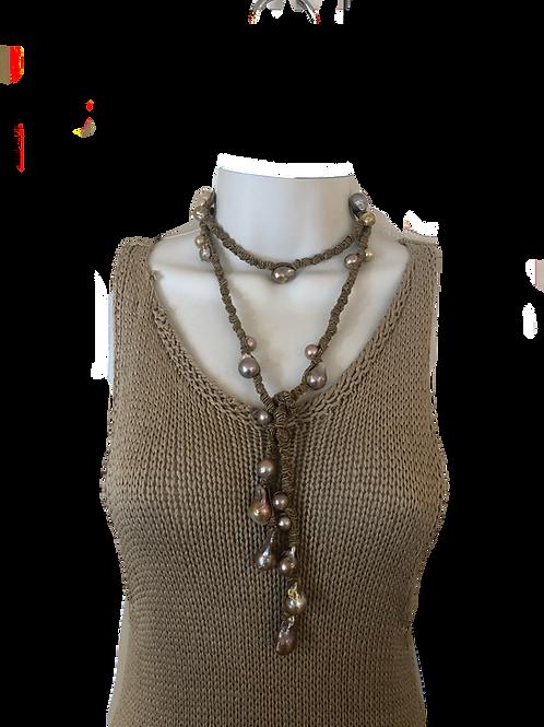 Sophia Dark Linen Mauve Pearls