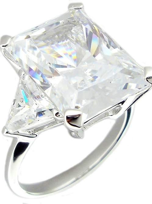 10ct Brilliant Cut CZ Ring with Trillions