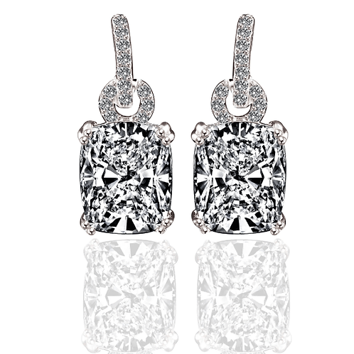 Rectangle Brilliant Cut Keyhole CZ Earrings