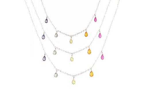 Three Strand Rainbow Necklace