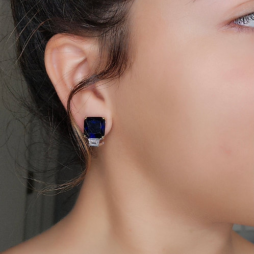 Sapphire Emerald Cut Studs with Baguette Accent