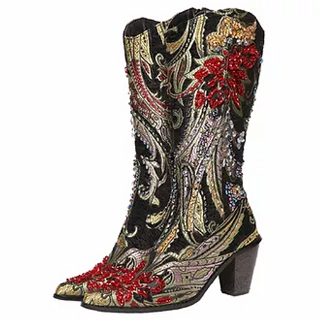 Bling Cowboy Boots Black Embroidery