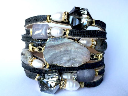 Black Italian Leather Wrapped With Gemstones Bracelet