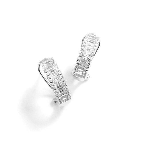 Medium Omega Back Baguette CZ Earrings