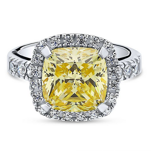 Cushion Cut Canary CZ HaloTravel Ring