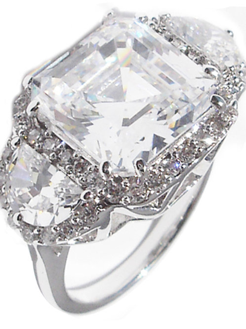 5ct Asscher Cut CZ Ring With Halo