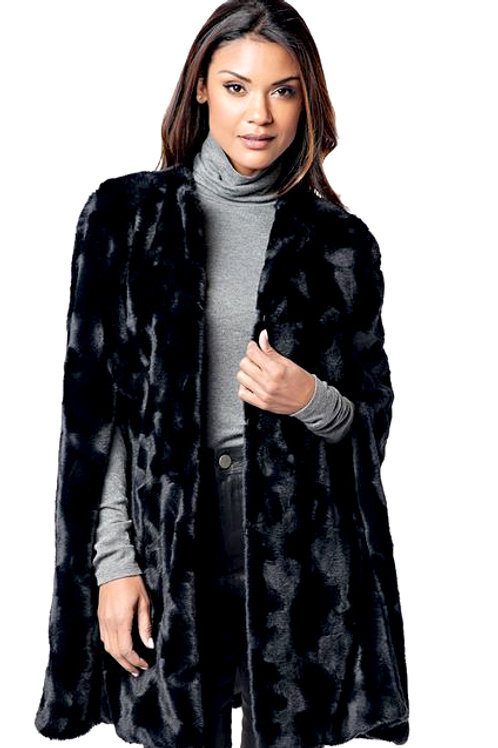 Black Rex Rabbit Faux Fur Cape