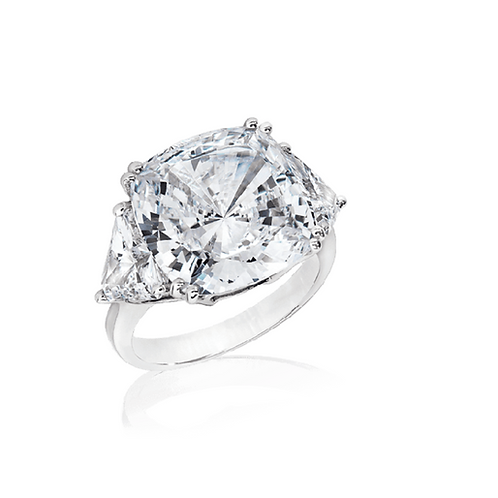Cushion Cut with Trillions Travel Ring