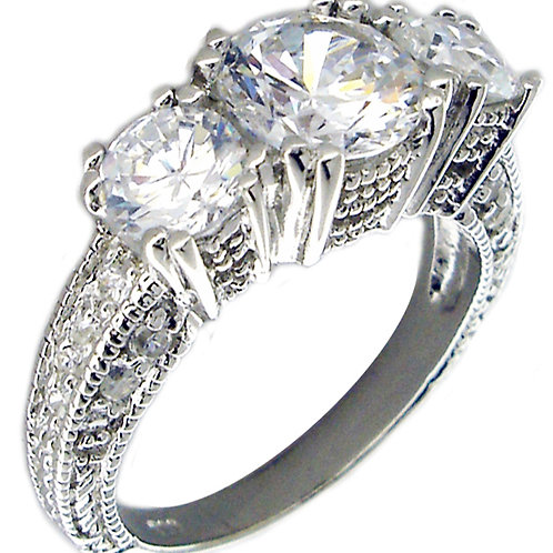 Triple CZ Ring with Filigree Band