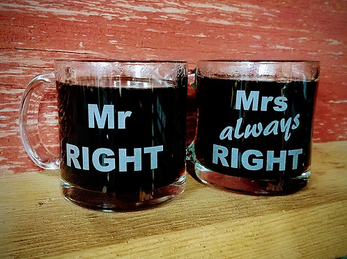 COFFEE MUG SET - Mr Right + Mrs Always Right
