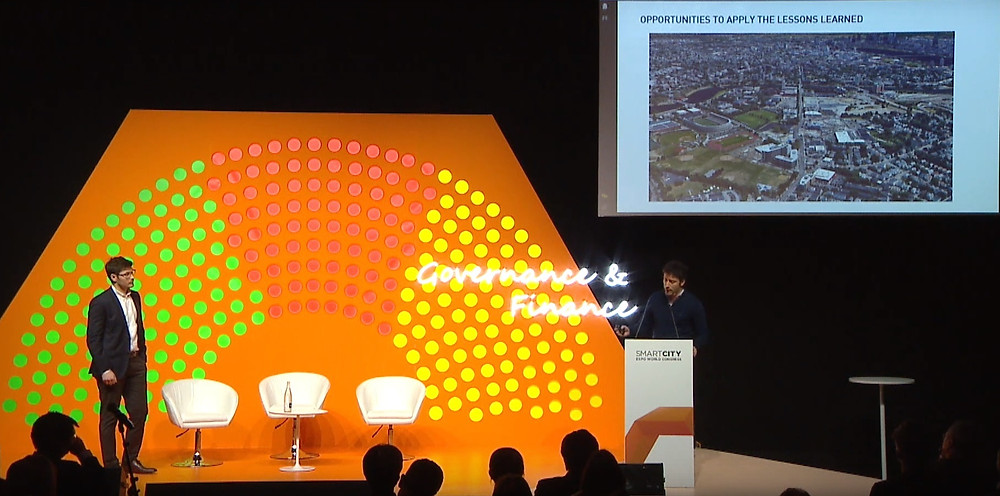 Jeremy Burke (left) and Ramon Gras Alomà, co-founders of Aretian, presenting at the Smart City Expo World Congress 2019